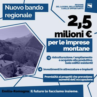 Nuovo bando regionale: 2,5 milioni di euro per le imprese montane